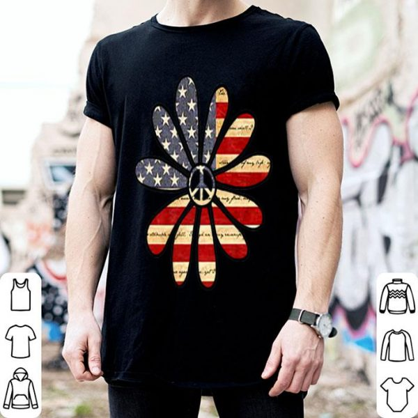 American Flag Hippie Flower With Peace Sign Center shirt