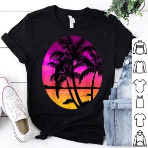 Beach Trees Retro Palm Summer Tropical Island Girls Gift shirt