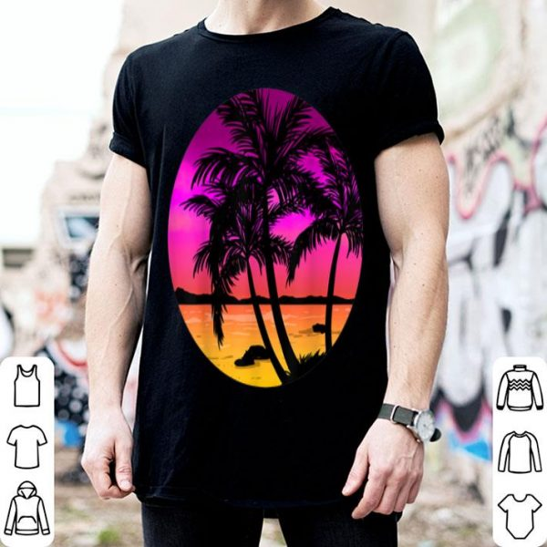 Beach Trees Retro Palm Summer Tropical Island Girls Gift shirt