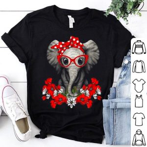 Elephant Mom With Red Flower Cute shirt