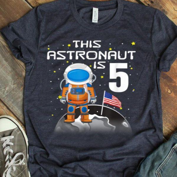 Kids 5th Birthday Astronaut One Step Boys 5 Year Old shirt