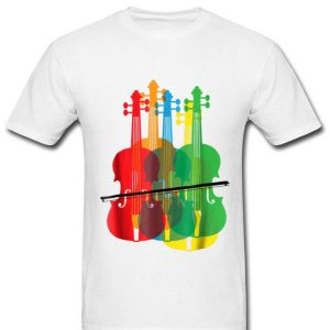 Multicolored Violins Birthday Music Loverians shirt