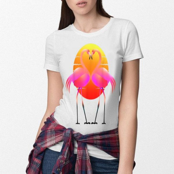 Pink Flamingo Heart Valentine's Day Summer Love shirt