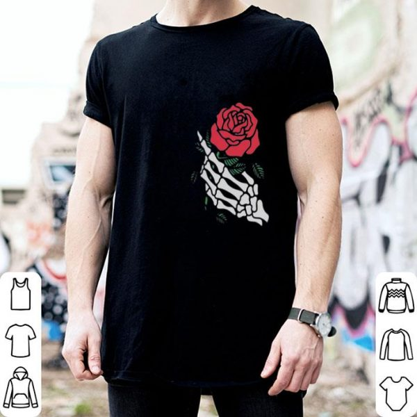 Rose White Skeleton Hand Holding A Red Rose shirt