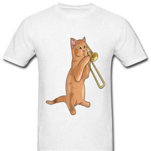 Trombone Playing Jazz Cat Kitty Loving Music Loverians shirt