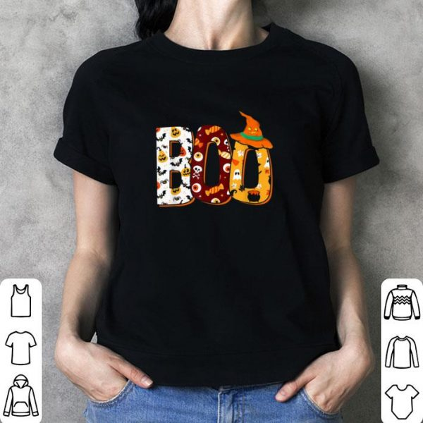Premium Boo Halloween With Spiders And Witch Hat shirt