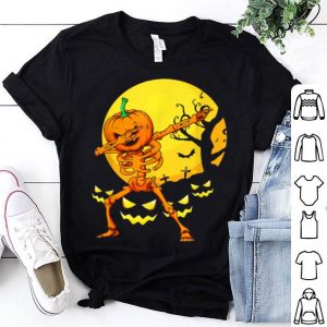 Awesome Funny Dabbing Skeleton Pumpkin Halloween Dab shirt