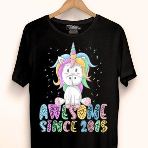 Awesome Since 2015 4 Years Old 4th Birthday Unicorn Girl shirt
