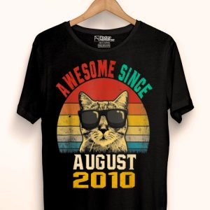 Awesome Since August 2010 9th Birthday Cat Lover shirt