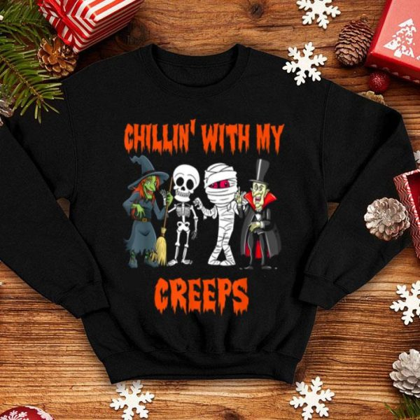 Funny Chillin With My Creeps Vampire Halloween Skeleton Witch Gift shirt