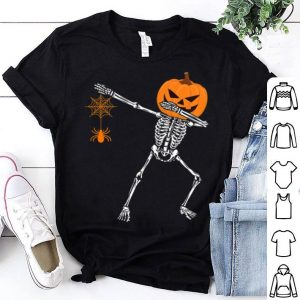 Funny Dabbing Skeleton Pumpkin With Spider Halloween shirt