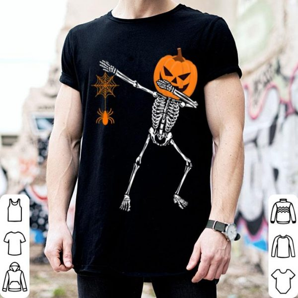 Funny Dabbing Skeleton Pumpkin With Spider Halloween shirt