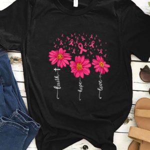Nice Faith Hope Love Pink Ribbon Daisy Flower Breast Cancer shirt