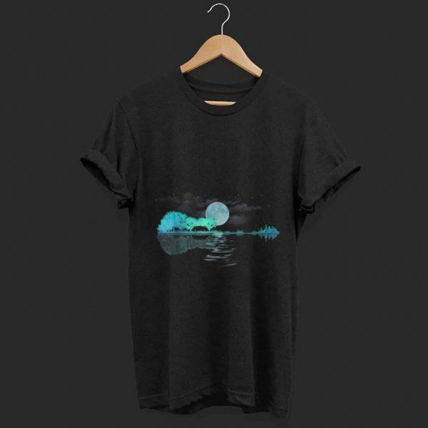 Nice Guitar Lake Shadow Nature And City Moon Light shirt
