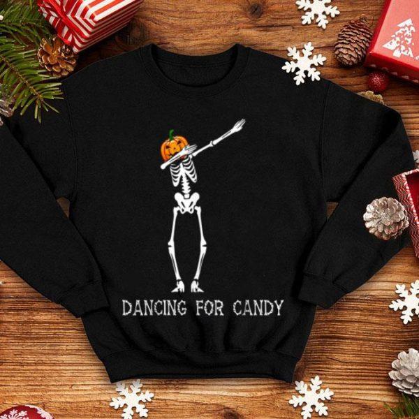 Original Dabbing Pumpkin Skeleton Dancing For Candy Halloween Gift shirt
