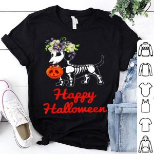 Original Dachshund Skeleton Pumpkin Happy Halloween shirt