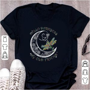 Original Hello Darkness My Old Friend Dragonfly and Moon shirt