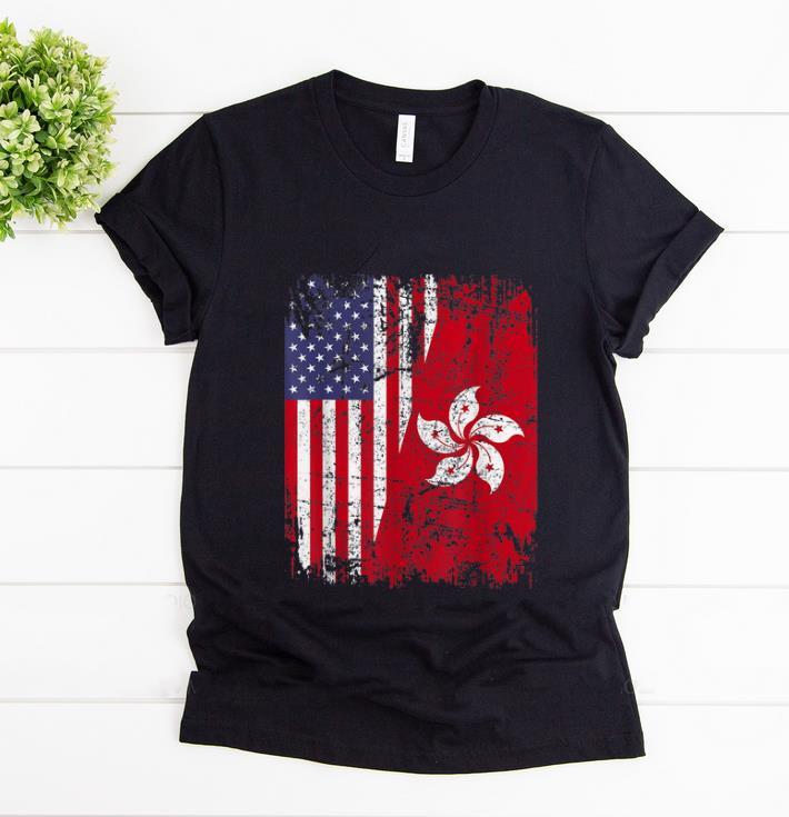 Pretty Hong Kong Half American Flag shirt 1 - Pretty Hong Kong Half American Flag shirt