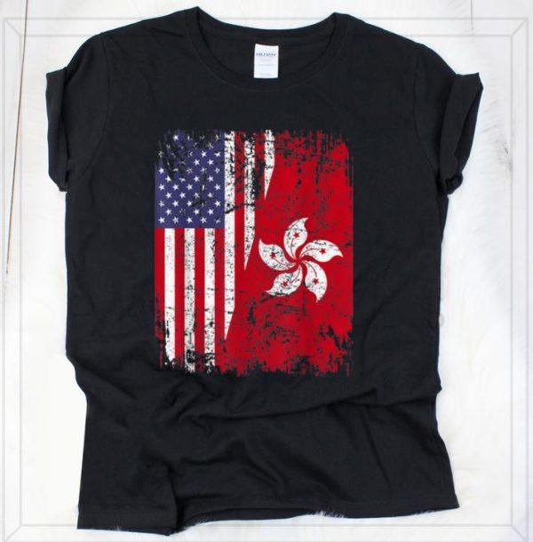 Pretty Hong Kong Half American Flag shirt