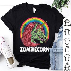 Top Zombiecorn Zombie Unicorn Halloween Women Rainbow shirt