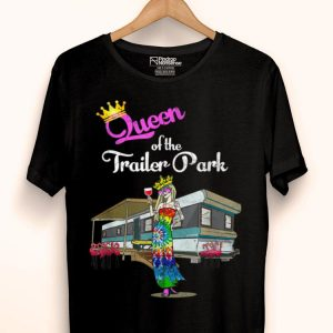 Trailer Park Queen Hippie Girl Tie Dyed Wine Pink Flamingos shirt