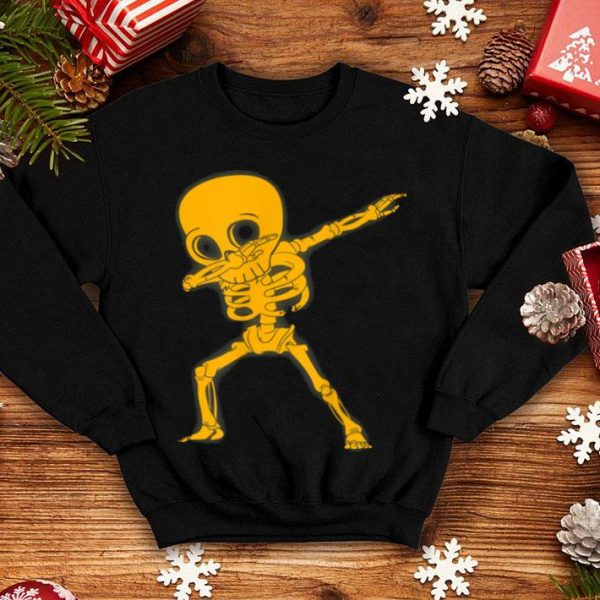Dabbing Skeleton Pumpkin Dance Halloween Kids Boys shirt