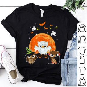 Funny Three Owls Halloween Mummy Pumpkin Moon shirt