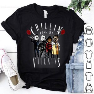 Hot Chillin With My Villains Scary Creepy Halloween Horror Gift shirt