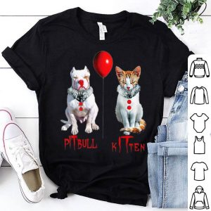 Original Clown Kitten Cat And Pitbull Dog Horror Halloween shirt