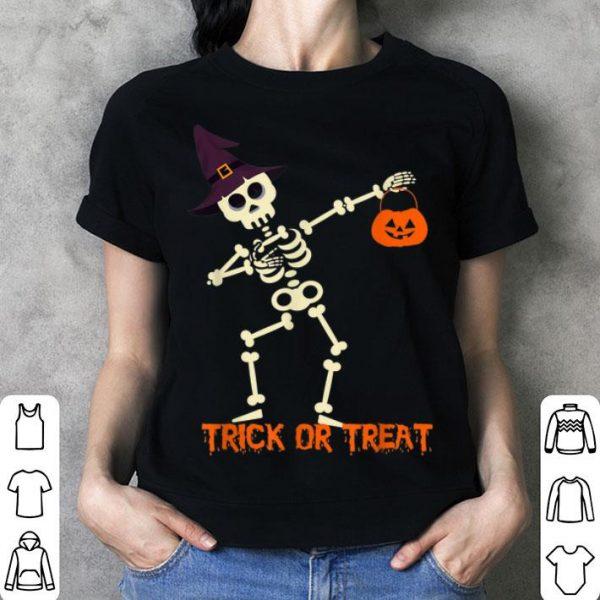 Premium Halloween Skeleton Dabbing Witch Hat Pumpkin Boys Girls Kids shirt