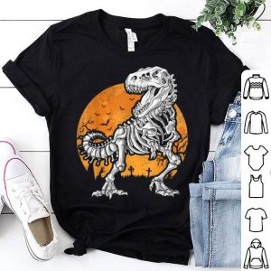 Top Dinosaur Skeleton T rex Halloween Kids Boys Men Gift shirt