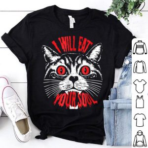 Awesome I Will Eat Your Soul Satanic Cat Spooky Halloween shirt