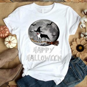 Happy Halloween Boston Terrier Witch Gifts Funny Dog Lover shirt