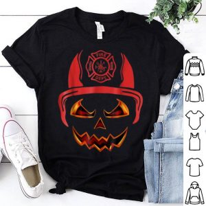 Hot Firefighter pumpkin Face Funny Halloween Costume shirt