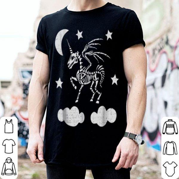 Hot Unicorn Pegasus Skeleton Halloween Moon Stars shirt