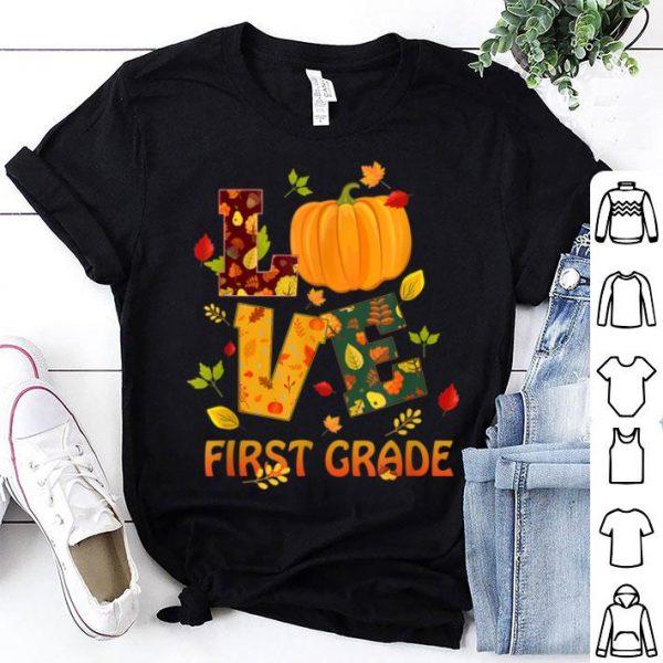 Official Love First Grade Teacher Thanksgiving Costume Pumpkin shirt