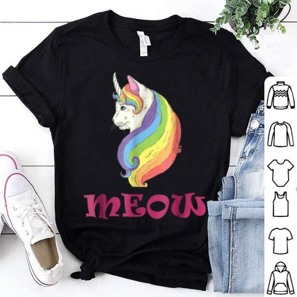 Official Meow Cat Unicorn Rainbow costume Halloween shirt