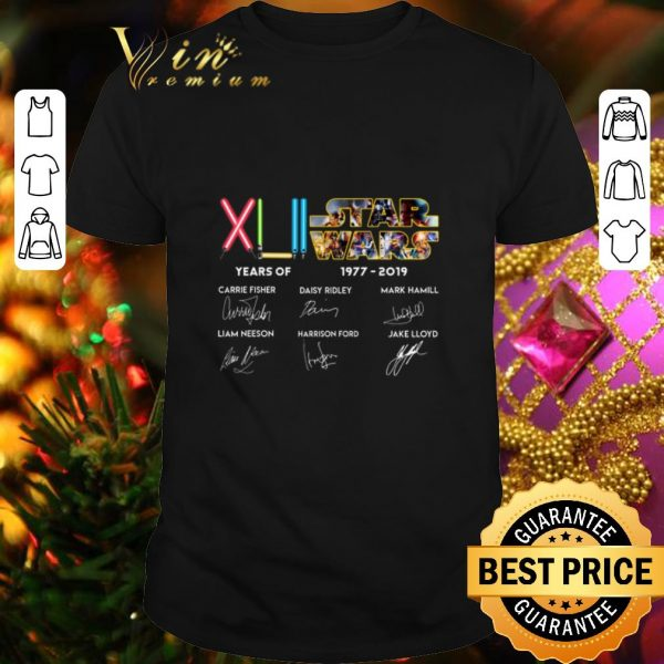 Official XLII 42 years of Star Wars 1977-2019 signatures shirt