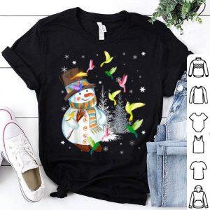 Top Hummingbird Snowman Merry Christmas Tee Hummingbird Lovers shirt