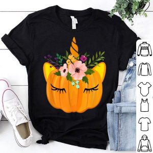 Awesome Flower Unicorn Pumpkin Costume Thanksgiving Gift Girl shirt