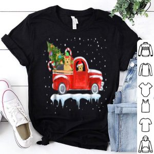 Beautiful Yorkie Drive Red Truck Funny Christmas shirt
