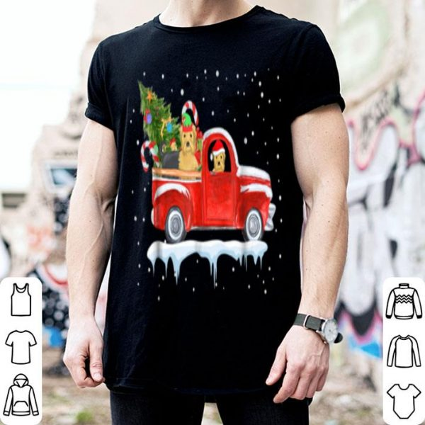 Beautiful Yorkie Drive Red Truck Funny Christmas shirt