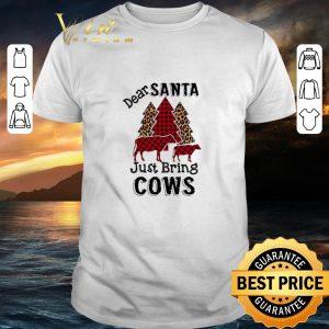 Cool Dear santa just bring cows leopard Christmas shirt