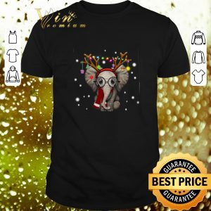 Cool Elephant reindeer merry and bright Christmas shirt