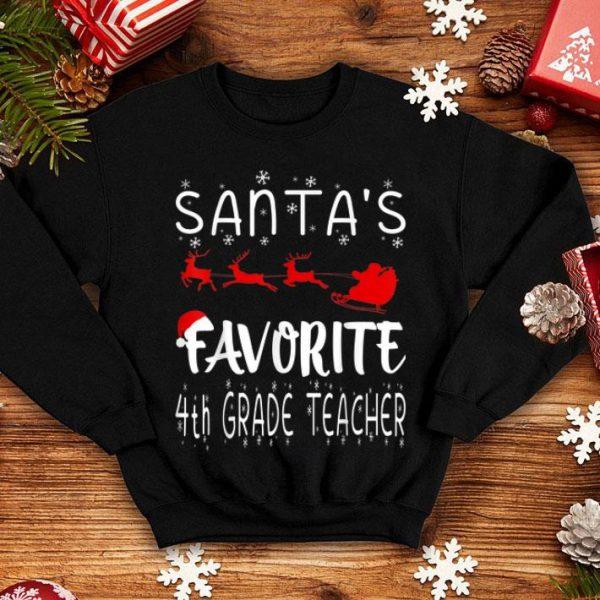 Hot Funny Santa's Favorite 4th Grade Teacher shirt