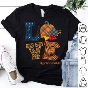 Hot Womens LOVE Grandma Life Plaid Pumpkin Fall Thanksgiving shirt