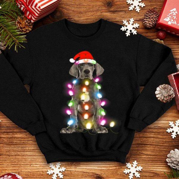 Nice Great Dane Christmas Pajama Santa Hat Lights Gift Dog Lover shirt
