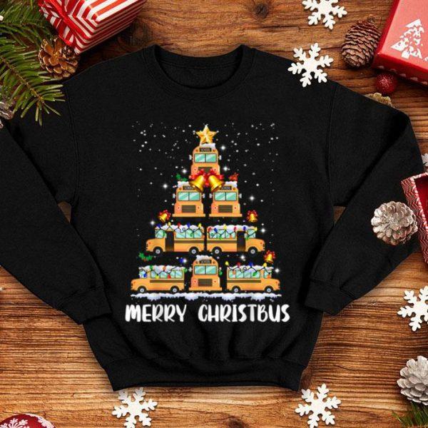 Nice Merry Christbus Funny School Bus Driver Christmas Tree Light shirt