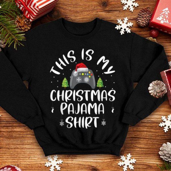 Nice This Is My Christmas Pajama Santa Hat Gamer Gifts shirt