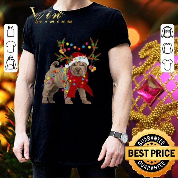 Official Shar pei reindeer Christmas merry and bright shirt